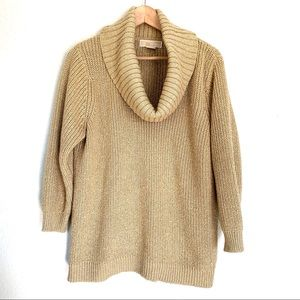 Michael Kors gold cowl neck pullover sweater